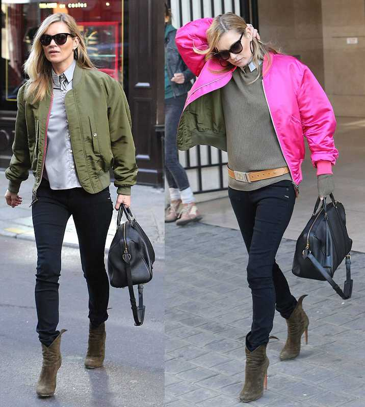 Kate Moss con bomber reversible
