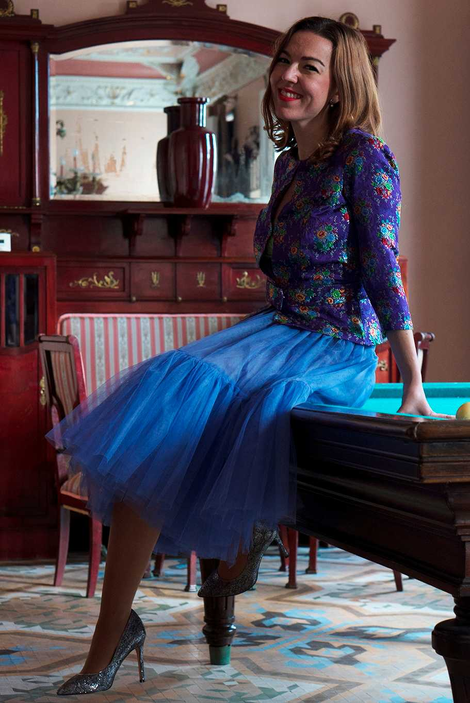 tendencia falda de tul corpiño con tela de valenciana