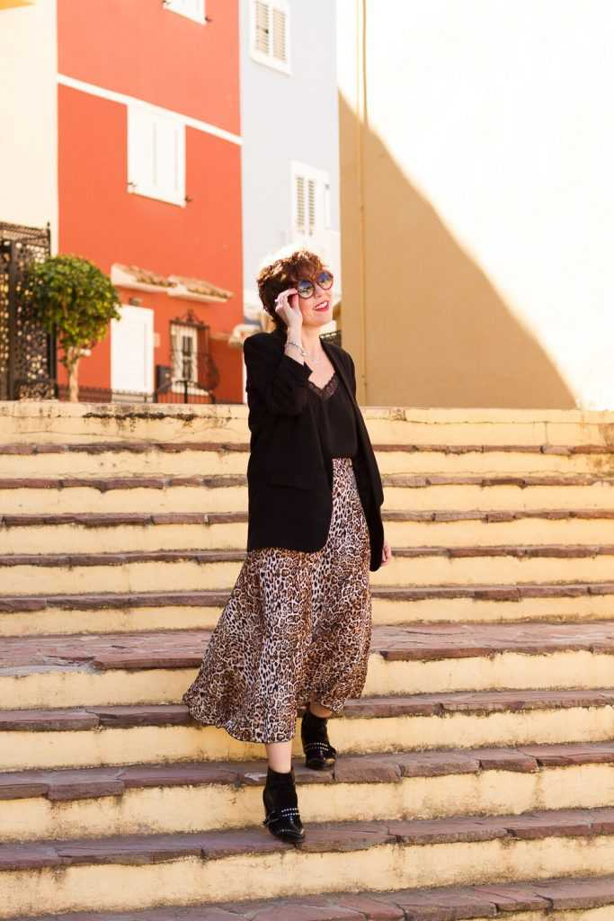 look working girl falda midi animal print