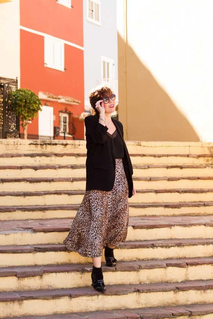 look working girl falda midi animal print