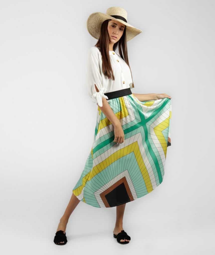 faldas midi plisadas con color